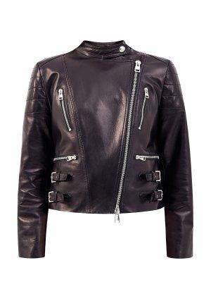 Куртка-косуха в байкерском стиле из матовой кожи ERMANNO SCERVINO. Цвет: черный