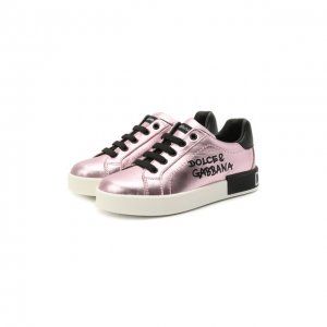 Кожаные кеды Dolce & Gabbana. Цвет: розовый