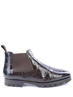 Ботинки-челси из кожи рептилии SANTONI