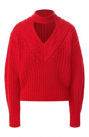 Пуловер из смеси хлопка и шерсти self-portrait. Цвет: красный