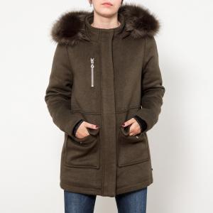 Пальто средней длины с капюшоном из шерсти LE TEMPS DES CERISES. Цвет: хаки
