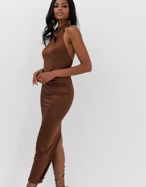Длинное платье халтер -Коричневый ASOS DESIGN