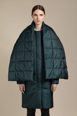 Пальто co съемным шарфом VASSA&Co. Цвет: зеленый