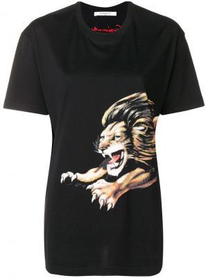 Футболка с принтом льва Givenchy. Цвет: черный