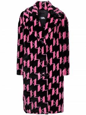 Шуба из искусственного меха с монограммой KL Karl Lagerfeld. Цвет: розовый