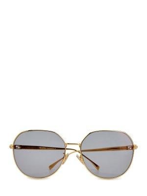 Очки-авиаторы с кристаллами Swarovski и литой символикой FENDI (sunglasses). Цвет: золотистый
