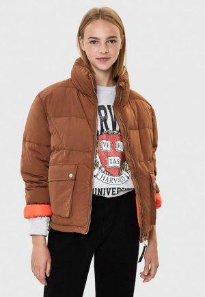 Куртка утепленная Bershka. Цвет: коричневый