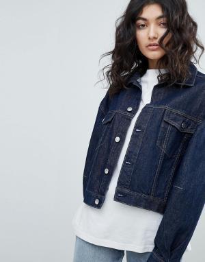 Темная джинсовая куртка Weekday. Цвет: синий