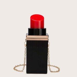 Сумка-клатч в форме губной помады SHEIN. Цвет: чёрный