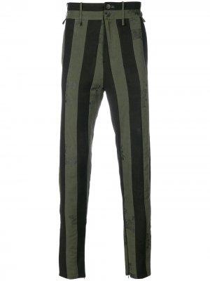 Полосатые брюки Damir Doma. Цвет: зеленый