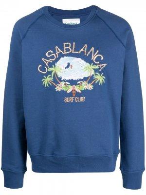 Толстовка с вышивкой Surf Club Casablanca. Цвет: синий