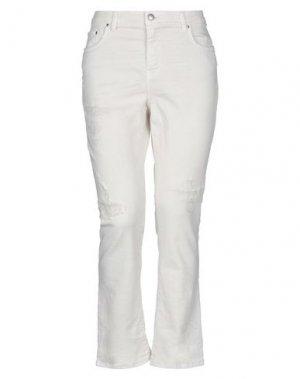 Джинсовые брюки-капри AGLINI. Цвет: слоновая кость