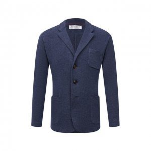 Пиджак из шерсти и кашемира Brunello Cucinelli. Цвет: синий