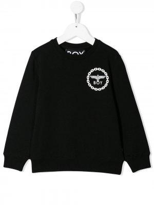 Толстовка с логотипом на груди Boy London Kids. Цвет: черный