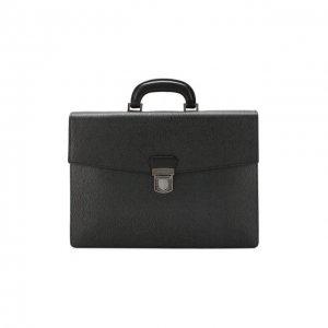 Кожаный портфель Salvatore Ferragamo. Цвет: серый
