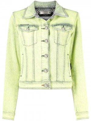 Джинсовая куртка с эффектом потертости Philipp Plein. Цвет: желтый