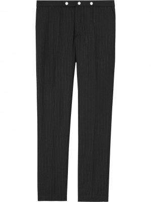 Классические строгие брюки в тонкую полоску Burberry. Цвет: черный