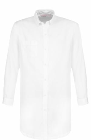 Хлопковая однотонная сорочка Derek Rose. Цвет: белый
