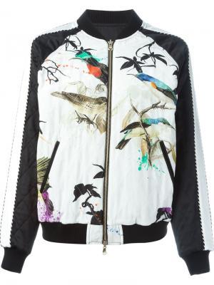 Куртка-бомбер с принтом птиц Roberto Cavalli. Цвет: многоцветный