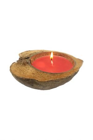 Свеча в кокосе GiftnHome Gift'n'Home. Цвет: красный