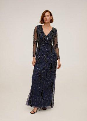 Длинное платье с пайетками - Marta-a Mango. Цвет: черный