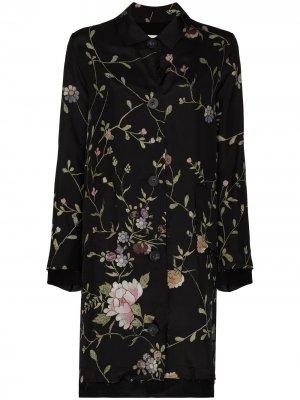 Пальто Rachel с цветочной вышивкой By Walid. Цвет: черный