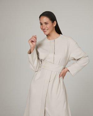 Платье с отлетной кокеткой 12STOREEZ. Цвет: жемчужный меланж