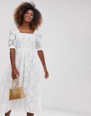 Свободное жаккардовое премиум-платье из органзы -Белый ASOS DESIGN