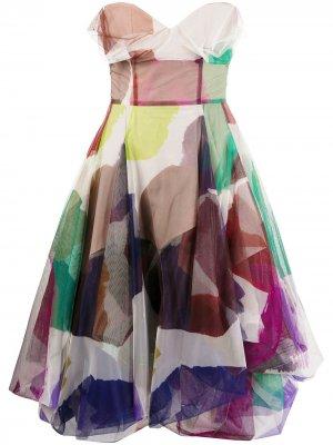 Платье миди с абстрактным принтом Vivienne Westwood. Цвет: розовый