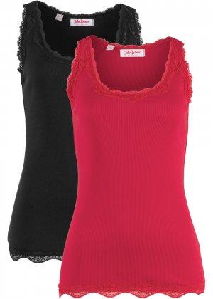 Трикотажная майка-лапша (2 штуки в упаковке) bonprix. Цвет: красный