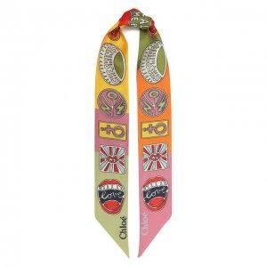 Шелковый шарф Chloé. Цвет: розовый