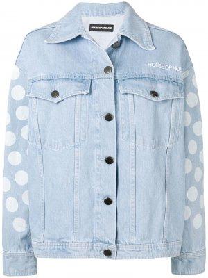 Джинсовая куртка в горох House of Holland. Цвет: синий