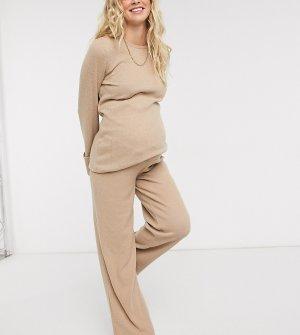 Домашние брюки бежевого цвета в рубчик от комплекта -Бежевый Pieces Maternity