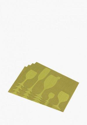 Комплект салфеток сервировочных El Casa. Цвет: зеленый