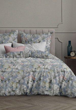 Постельное белье Евро Mia Cara Прикосновение весны. Цвет: серый