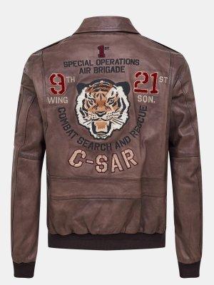 Кожаная куртка Aeronautica Militare. Цвет: korichnevyy