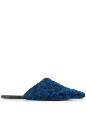 Слиперы с леопардовым принтом MM6 Maison Margiela. Цвет: синий