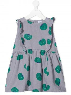Платье из органического хлопка с принтом Bobo Choses. Цвет: фиолетовый
