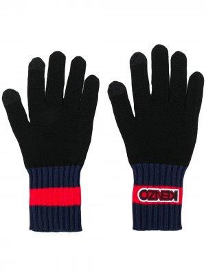 Перчатки с отделкой в рубчик Kenzo. Цвет: черный