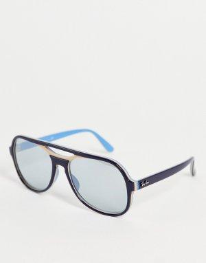 Синие солнцезащитные очки-навигаторы унисекс в стиле 70-х 0RB4357-Темно-синий Ray-Ban
