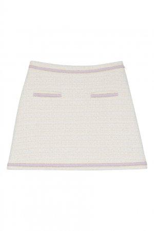 Кремовая мини-юбка Maje. Цвет: белый