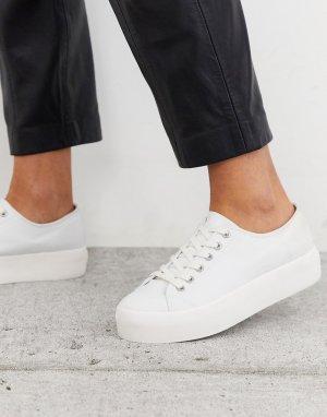 Белые парусиновые кроссовки на платформе -Белый Vagabond