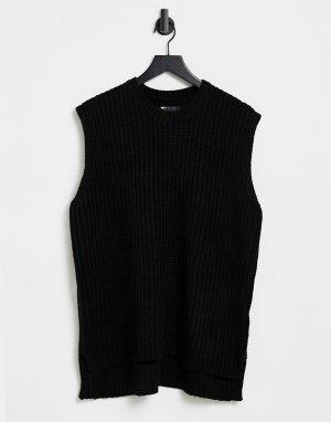 Черный вязаный oversized-жилет -Черный цвет ASOS DESIGN