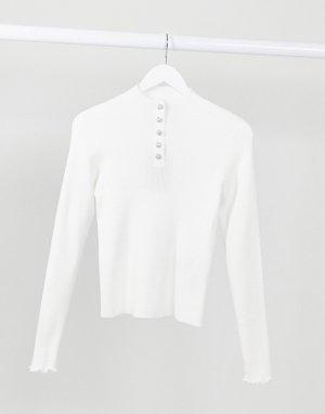 Белый топ в рубчик с пуговицами со стразами -Кремовый Vero Moda
