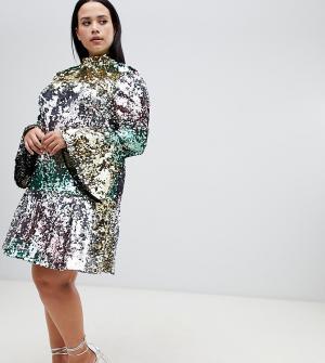 Платье мини с пайетками ASOS DESIGN Curve premium. Цвет: мульти