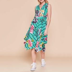 Платье асимметричное с рубашечным воротником без рукавов, Fief DERHY. Цвет: зеленый в полоску