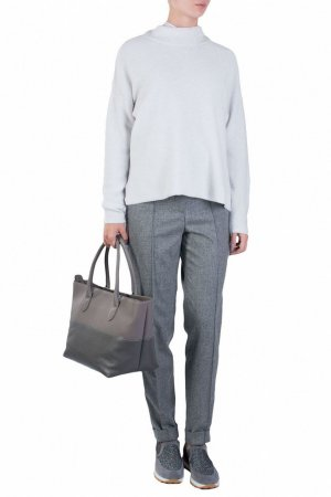 Белый пуловер с воротником-стойкой Fabiana Filippi. Цвет: бежевый
