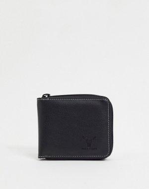 Бумажник на молнии -Черный Hyde & Tanner