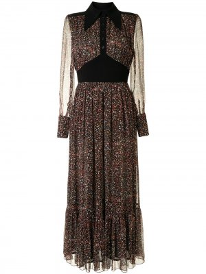 Ярусное платье макси Botanists Karen Walker. Цвет: черный