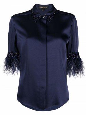 Рубашка с короткими рукавами и перьями Jenny Packham. Цвет: синий